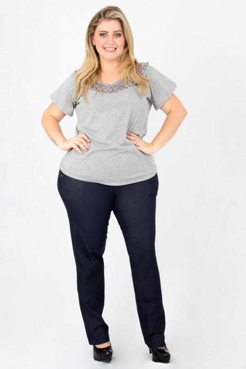 Calça Malha Jeans com bolso