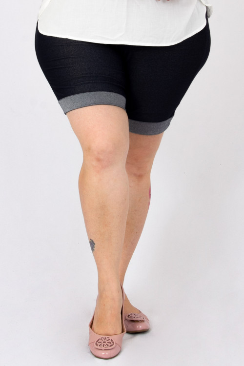 Bermuda Malha Jeans Barra Dobrada